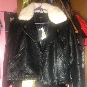 faux fur trim leather jacket
